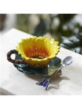 Gorgeous Sunflower Design Ceramic Coffee Cup