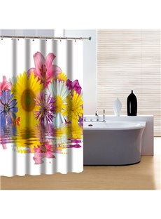 Superior Graceful Flowers Print 3D Shower Curtain