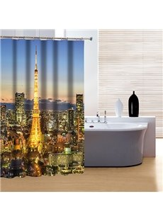 Wonderful Fancy Modern Urban Night View 3D Shower Curtain