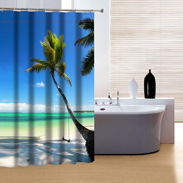 Cozy Peaceful Beach View 3D Shower Curtain