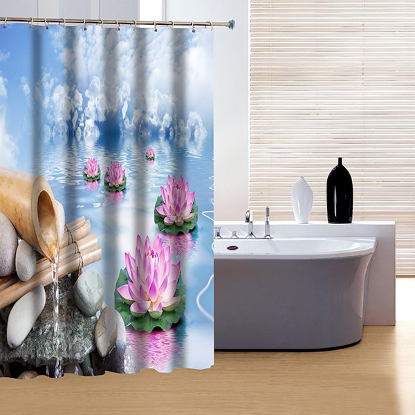 Unique Poetic Summer Spring and Lotus Print 3D Shower Curtain