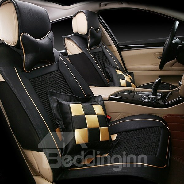 Sporty and Fashionable Plaid Patterned Ice Silk Car Seat Cover
