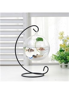 Creative Glass Vase Fishbowl on Iron Stand Desktop Decoration