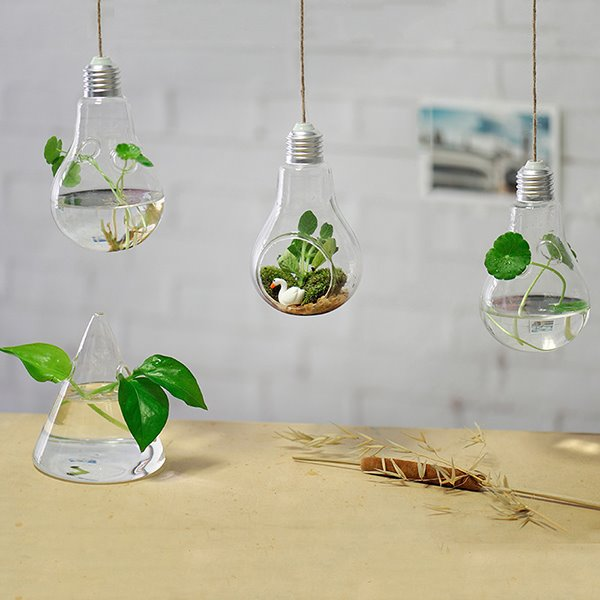 Creative Bulb Design Glass 1-Piece Hanging Flower Vase