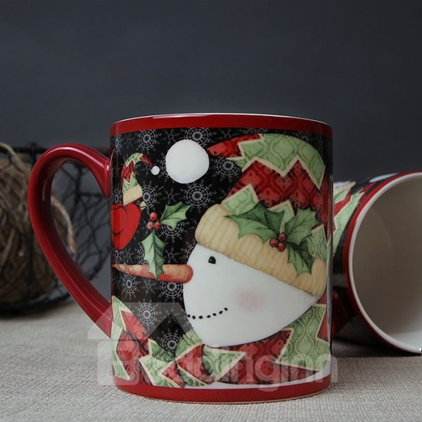 Christmas Snowman Pattern Ceramic Coffee Mug 400ml