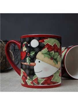 Christmas Snowman Pattern Ceramic Coffee Mug 400ml