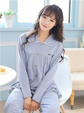 Super Lovely Girlish Blue 100% Cotton Pajamas Sets