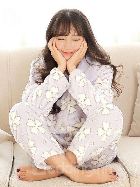 Modern Homedress Four Leaf Clover Flannel Pajamas Sets