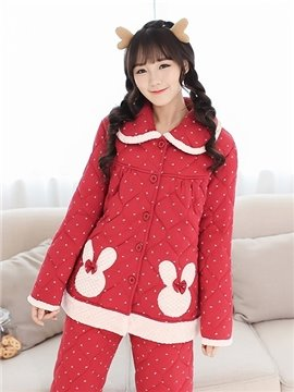 High Quality Faddish Lovely Red Thicken Flannel Pajamas Sets
