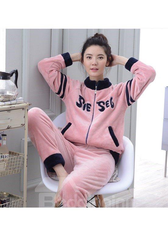 Faddish Leisure Style Girlish Pink Flannel Pajamas Sets