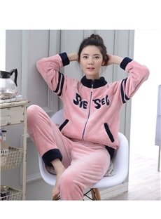 Faddish Leisure Style Girlish Pink Flannel Pajamas Sets