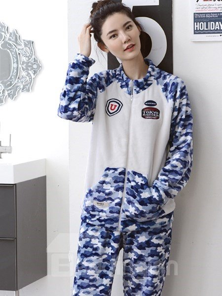 New Fashion Camouflage Pattern Leisure Flannel Pajamas Sets