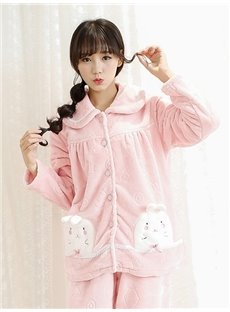 Pretty Lovely Little Rabbit Pink Flannel Pajamas Sets