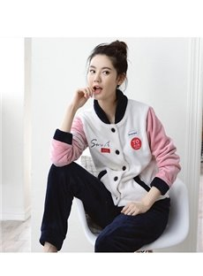 New Fashion Leisure Style Joint Color Flannel Pajamas Sets
