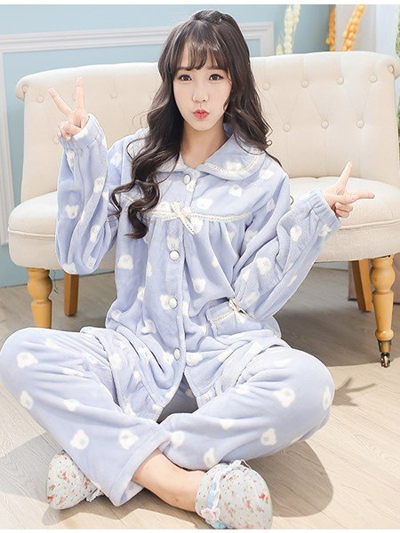 Fresh Girlish Style Little Bear Printinging Flannel Pajamas Sets