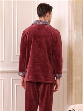 Fashion New Style Noble Men's Flannel Pajamas Sets