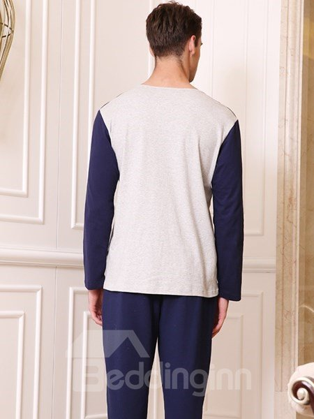 Fashion Homedress Joint Color 100% Cotton Pajamas Sets