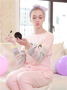 Lovely New Style Homedress Cartoon Printing 100% Cotton Women's Pajamas Sets