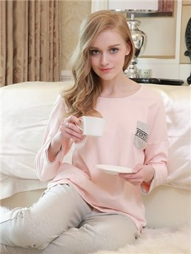 Fashion Homedress Fresh Concise Style 100% Cotton Women's Pajamas Sets