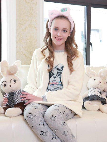 Fashion Cute French Bulldog Printing Flannel Pajamas Sets