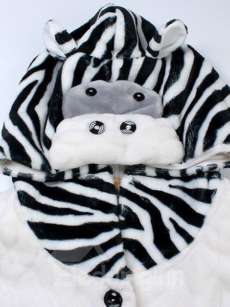 Fashion Batwing Sleeve Zebra Stripe Flannel Pajamas Sets