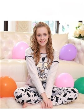 Sweet Lovely Cartoon Cat Gray 100% Cotton Women's Pajamas Sets