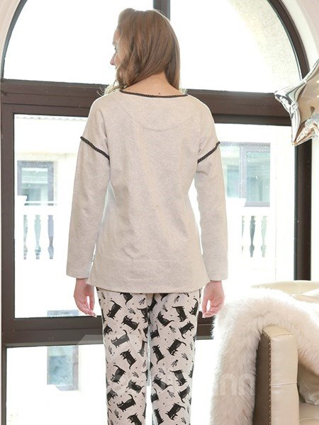 Sweet Lovely Cartoon Cat Gray 100% Cotton Women