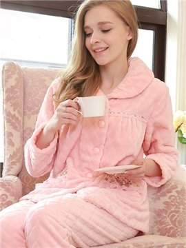 High Class Noble Floral Lace Flannel Pajamas Sets