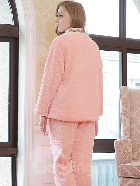Korean V-collar Sweet Girlish Pink Flannel Pajamas Sets