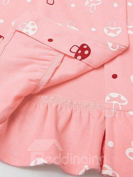Charming Sweet Mushroom Printing 100% Cotton Pajamas Sets