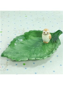 Wonderful Green Leaf Design Ceramic Snack Tray Desktop Decoration
