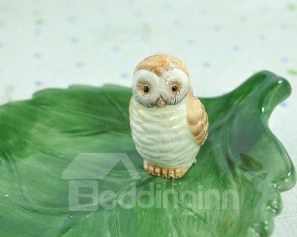 Wonderful Green Leaf Design Ceramic Snack Tray Desktop Decoration