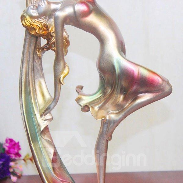 Gorgeous Dancing Girl Figurine Resin Desktop Decoration