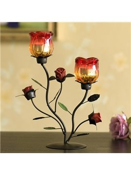 Fabulous Roses Design Iron Artwork 2-Head Candle Holder
