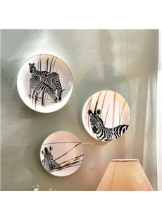 Creative Ceramic Plate Zebra Pattern 1-Set Wall Art Decoration