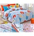 Blue Autumn Dandelion Print Kids Duvet Cover Set