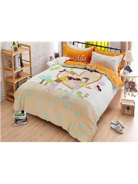 Sweet Journey Boy and Girl in Heart Shape Print Kids Duvet Cover Set