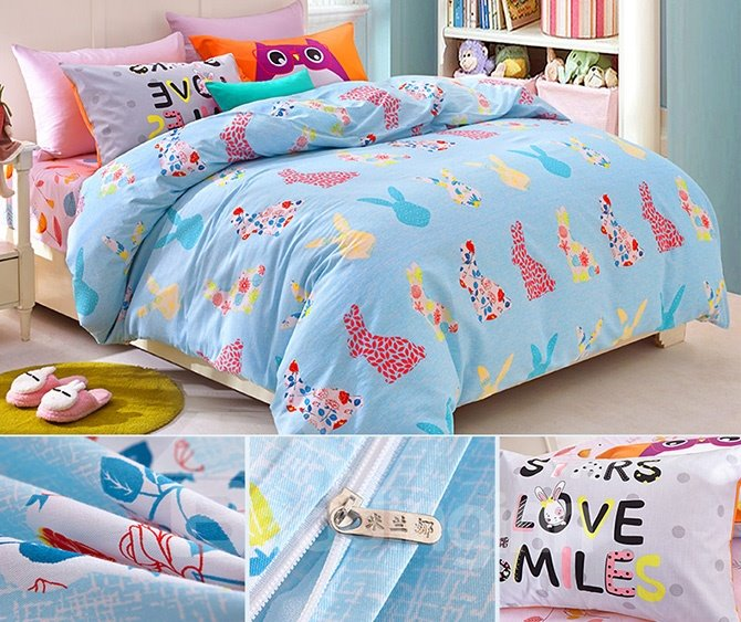 Light Blue Colorful Rabbits Pattern Kids Duvet Cover Set