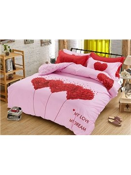 Love&Dream Heart Shape Print Pink Kids Duvet Cover Set