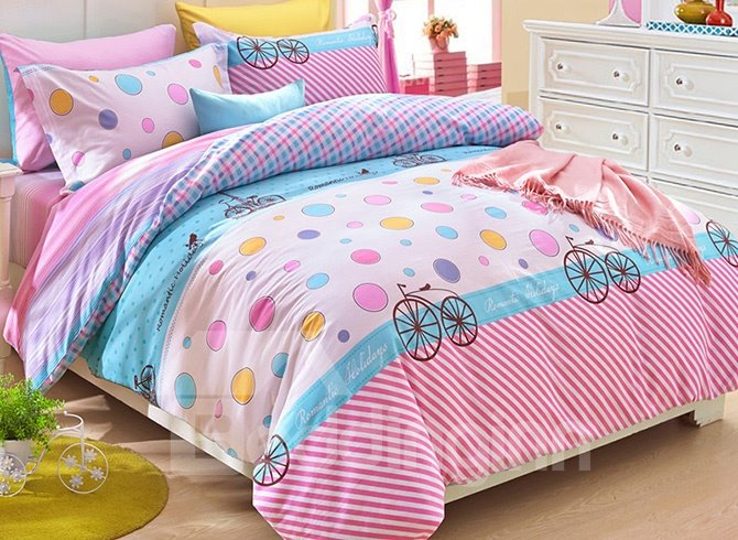 lovely colorful polka dots pattern kids duvet cover set. Black Bedroom Furniture Sets. Home Design Ideas