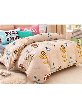 Creative Plants Pattern Kids Cotton Duvet Cover Set