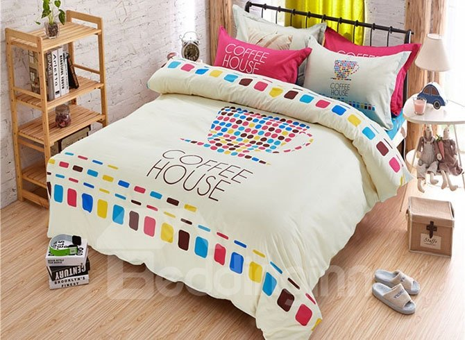 Colorful Squares Print Coffee House Kids Duvet Cover Set