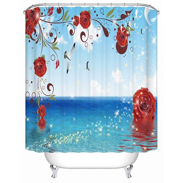 Modern Fashion Bright Ocean View 3D Shower Curtain