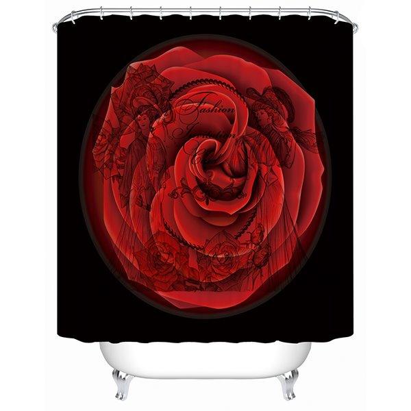 Unique Design Big Rose and Court Ladies Watermark 3D Shower Curtain