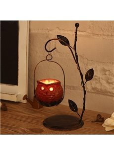 Creative Iron Artwork Owl Design Candle Holder