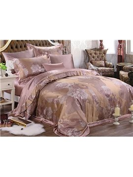 Royal Jacquard Design 100% Mulberry Silk 4-Piece Duvet Cover Sets