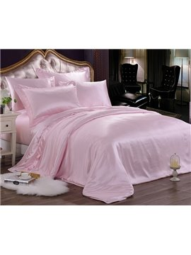 Luxury Pure Pink Mulberry Silk 4-Piece Duvet Cover Sets