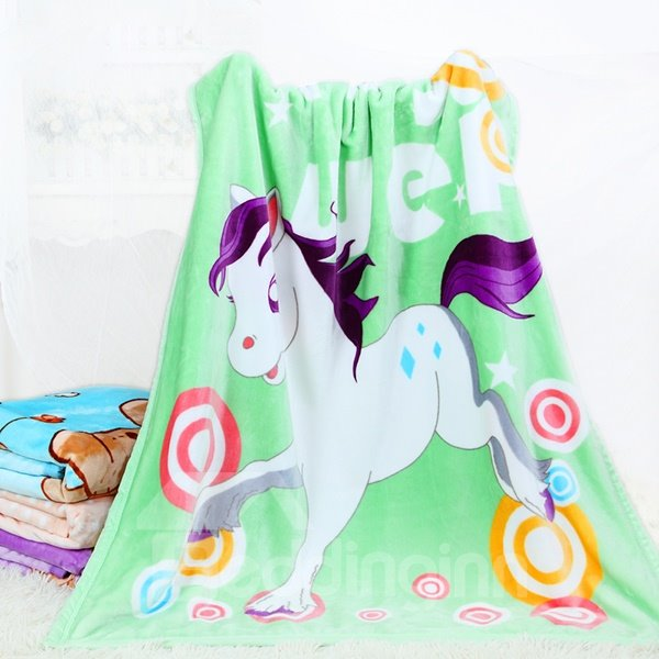 Lovely Little White Horse Print Flannel Baby Blanket