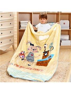 Cruise Holidays Ship and Rabbit Print Baby Blanket
