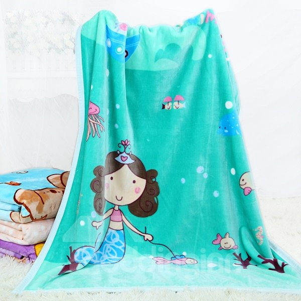 Adorable Mermaid and Her Pet Fish Print Baby Blanket